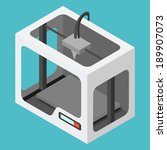 isometric 3d printer on a blue... | Shutterstock .eps vector #189907073