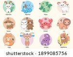 set of cute cartoon zodiac... | Shutterstock .eps vector #1899085756
