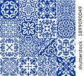 set of 16 tiles azulejos in... | Shutterstock .eps vector #1899090049