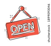 open sign icon in comic style....   Shutterstock .eps vector #1899093046