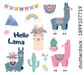 cute cartoon sticker lama set... | Shutterstock .eps vector #1899107719