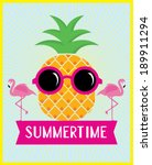 pineapple and flamingo... | Shutterstock .eps vector #189911294