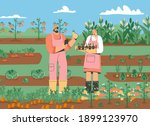 couple of farmers standing in... | Shutterstock .eps vector #1899123970