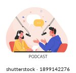 podcast concept. vector... | Shutterstock .eps vector #1899142276
