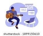 young man sitting home ... | Shutterstock .eps vector #1899150610
