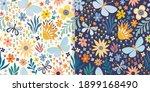 floral seamless patterns set... | Shutterstock .eps vector #1899168490