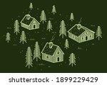 rural village in woods linear... | Shutterstock .eps vector #1899229429