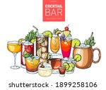 alcoholic cocktails hand drawn...   Shutterstock .eps vector #1899258106