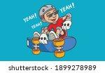 cool skateboarding boy.  vector ...   Shutterstock .eps vector #1899278989