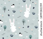 white rabbit with trees and... | Shutterstock .eps vector #1899282259