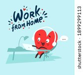work from home funny concept.... | Shutterstock .eps vector #1899299113