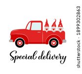 valentines red retro truck and...   Shutterstock .eps vector #1899302863
