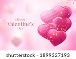 red and pink heart balloons on...   Shutterstock .eps vector #1899327193