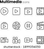 multimedia video player icon set   Shutterstock .eps vector #1899356050