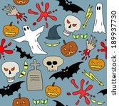 seamless pattern with halloween ... | Shutterstock . vector #189937730