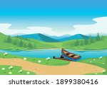 rural landscape with mountains  ... | Shutterstock .eps vector #1899380416