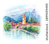 Coplored pencils sketch of Church and river in Old City of Unterseen Interlaken, Switzerland