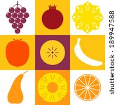 tropical fruits. icon set | Shutterstock .eps vector #189947588