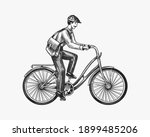 a man on a bicycle. eco... | Shutterstock .eps vector #1899485206