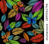 graphic leaves seamless... | Shutterstock .eps vector #1899531796