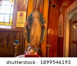 A Church Background With Statue ...