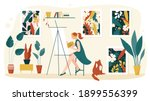 artist painting at home... | Shutterstock .eps vector #1899556399