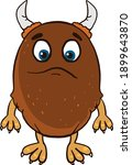 sad brown monster  illustration ... | Shutterstock .eps vector #1899643870