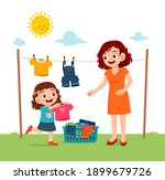 little kid helping mother to... | Shutterstock .eps vector #1899679726