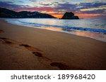 foot prints along a beautiful... | Shutterstock . vector #189968420