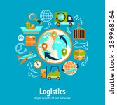 logistic chain concept with... | Shutterstock .eps vector #189968564