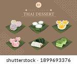 thai sweets dessert watercolor... | Shutterstock .eps vector #1899693376
