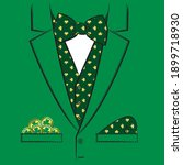 suit with jacket  vest and bow... | Shutterstock .eps vector #1899718930