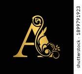 golden  letter a. flower ... | Shutterstock .eps vector #1899791923