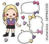 cute girl  ribbon  heart and... | Shutterstock .eps vector #1899865330