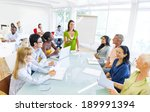 young business woman presenting ... | Shutterstock . vector #189991394