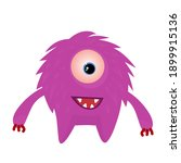 cute monster cartoon vector on... | Shutterstock .eps vector #1899915136