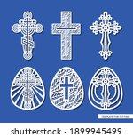 set of crosses and easter eggs. ... | Shutterstock .eps vector #1899945499