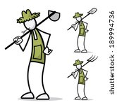 farmer stick figure working  | Shutterstock .eps vector #189994736