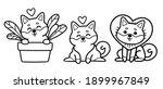 vector set of cute cartoon... | Shutterstock .eps vector #1899967849