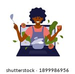 african american woman with...   Shutterstock .eps vector #1899986956