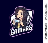 cute gamer girl with hoodie... | Shutterstock .eps vector #1900028383