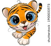 Cute Cartoon Tiger creeping up isolated on a white background