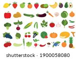 set of fruits and vegetables on ... | Shutterstock .eps vector #1900058080