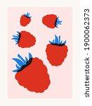 raspberry fruits abstract... | Shutterstock . vector #1900062373