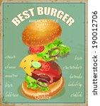 burger. ingredients label.... | Shutterstock .eps vector #190012706