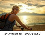 young woman with backpack... | Shutterstock . vector #190014659