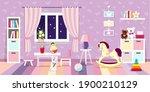 cozy interior of a children's... | Shutterstock .eps vector #1900210129