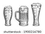 vector set of beer glasses and... | Shutterstock .eps vector #1900216780