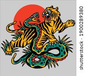 tiger fights with the big snake ... | Shutterstock .eps vector #1900289380