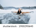 Winter Swimming. Woman In...